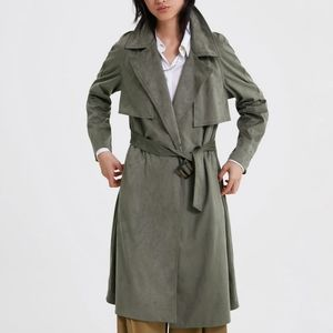 NWT ZARA Faux Suede Army Green Trench Coat S